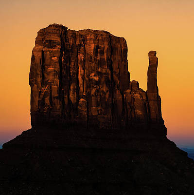 Photograph - Monument Valley Mitten Utah Arizona - Orange Light by Gregory Ballos