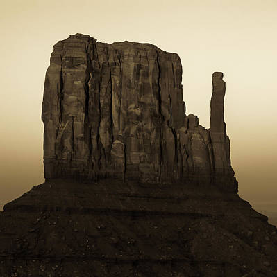 Photograph - Monument Valley Mitten Utah Arizona - Sepia by Gregory Ballos
