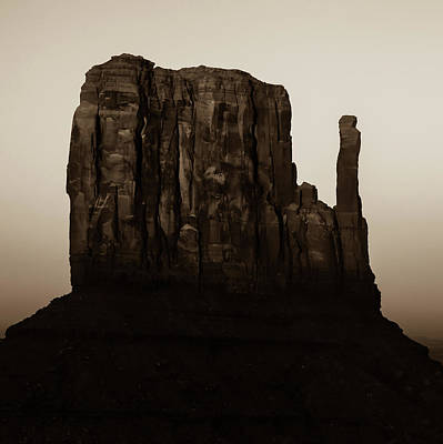 Photograph - Monument Valley Mitten Utah Arizona - Soft Sepia by Gregory Ballos