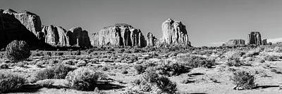 Photograph - Monument Valley Monolith Panorama - Arizona Utah Border Bw Landscape by Gregory Ballos