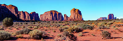 Photograph - Monument Valley Monolith Panorama - Arizona Utah Border Landscape by Gregory Ballos