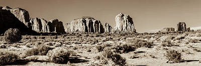 Landscapes Royalty-Free and Rights-Managed Images - Monument Valley Monolith Panorama - Arizona Utah Border Sepia Landscape by Gregory Ballos