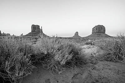 Photograph - Monument Valley Sunset Black And White by John McGraw