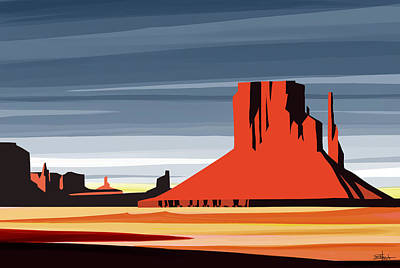 Sunset Painting - Monument Valley Sunset Digital Realism by Sassan Filsoof