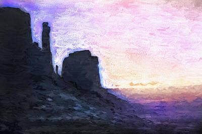Monument Valley - Sunset Vista Art Print by Steve Ohlsen