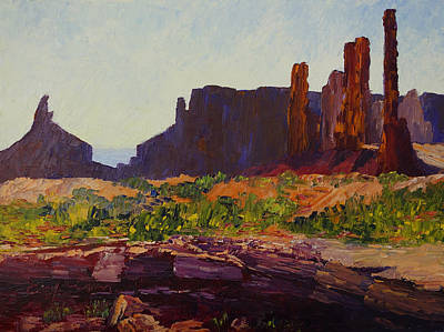 Monument Valley Totem Poles Art Print by Terry  Chacon
