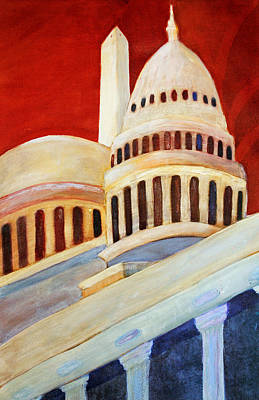 Washington Monument Mixed Media - Monumental Abstraction by Kay Fuller