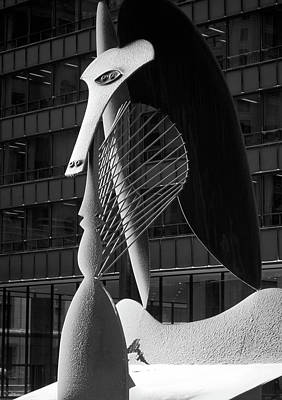 Monumental Sculpture In Front Of A Building, Chicago Picasso, Daley Plaza, Chicago, Illinois, Usa Art Print by Panoramic Images