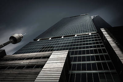 Photograph - Monumental Skyscraper In Sydney Cbd In Black And White by Daniela Constantinescu