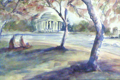 Jefferson Memorial Painting - Monuments In Bloom by Julie Morrison
