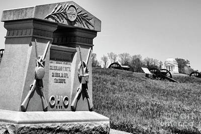 Photograph - Monuments Vicksburg Paint Black White Benjamin F. Potts  by Chuck Kuhn