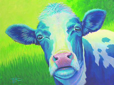 Painting - Moo Now Blue Cow by Tish Wynne