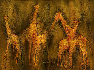 African Art Mixed Media - Moods Of Africa - Giraffes by Carol Cavalaris