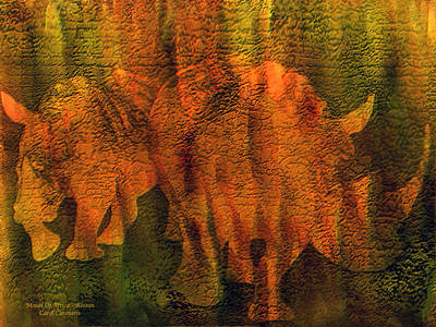 African Art Mixed Media - Moods Of Africa - Rhinos by Carol Cavalaris
