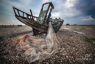 Urban Scenes Mixed Media - Moody Boat by Svetlana Sewell