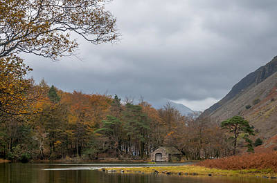 Moody Clouds Over A Boathouse On Wast Water In The Lake District Art Print