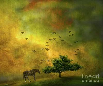 Flock Of Bird Mixed Media - Moody Country Landscape by KaFra Art