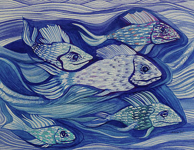 Painting - Moody Fish by Adria Trail