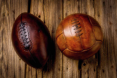 Weatherworn Photograph - Moody Football And Soccer Ball by Garry Gay