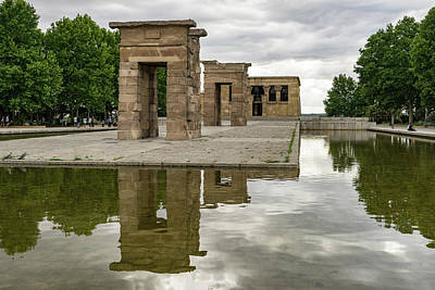 Photograph - Moody Madrid - Temple Of Debod Reflected Under Ominous Skies  by Georgia Mizuleva