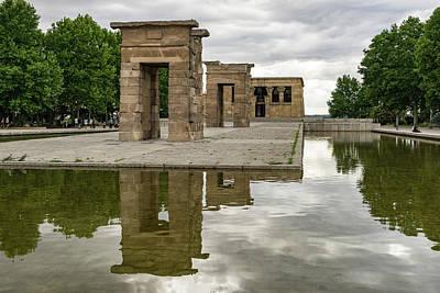 Photograph - Moody Madrid - Temple Of Debod Reflected Under Ominous Skies  by Georgia Mizuleva
