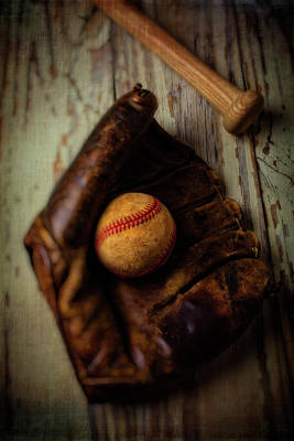 Moody Old Mitt With Bat Art Print