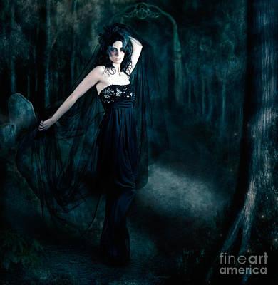 Moody Portrait Of An Elegant Mysterious Woman Art Print