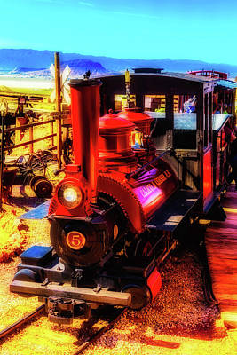 Narrow Gauge Engine Photograph - Moody Red Train by Garry Gay