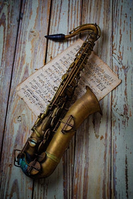 Sheet Music Photograph - Moody Sax by Garry Gay