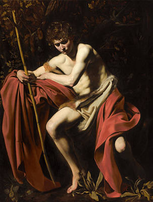 Caravaggio Painting - Moody St. John The Baptist by Celestial Images