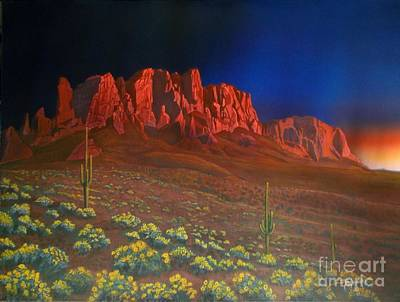 Superstition Mountains Painting - Moody Superstitions by Jerry Bokowski