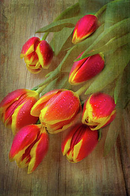 Moody Testured Tulips Art Print