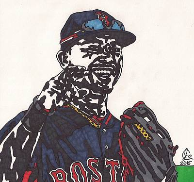 Mlb Boston Red Sox Drawing - Mookie Betts 2 by Jeremiah Colley