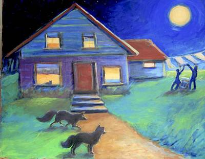 Painting - Moolight Laundry by Anne Marie Bourgeois
