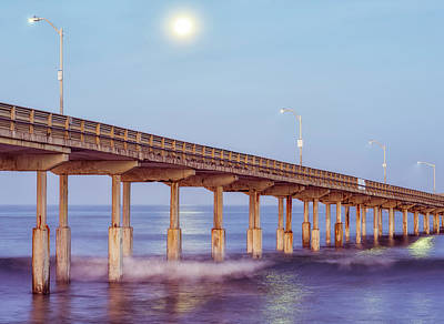 Photograph - Moon Above Pier by Joseph S Giacalone