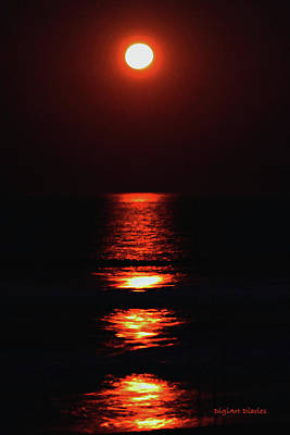 Moon Afire Print by DigiArt Diaries by Vicky B Fuller