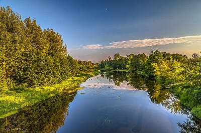 Photograph - Moon Afternoon Riverscape  by Julis Simo