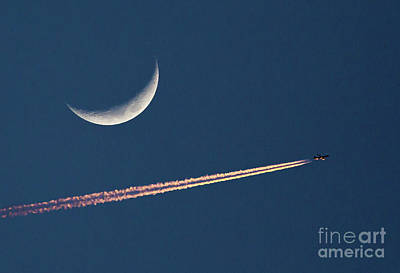 Photograph - Moon And Airliner by Kevin McCarthy