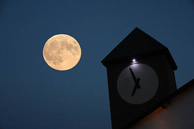 Photograph - Moon And Clock Tower by Pat Moore