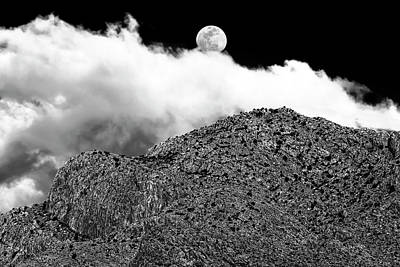 Mark Myhaver Photo Rights Managed Images - Moon and Clouds Over Pusch Ridge h1831 Royalty-Free Image by Mark Myhaver