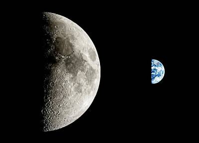 Photograph - Moon And Earth by Weston Westmoreland