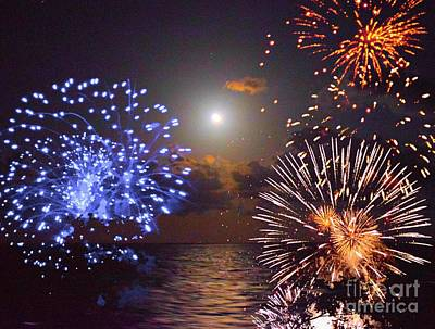 Photograph - Moon And Fireworks by Janette Boyd