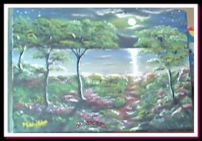 Painting - Moon And Forest by M bhatt
