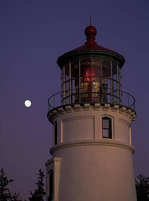 Photograph - Moon And Lighthouse by Robert Potts