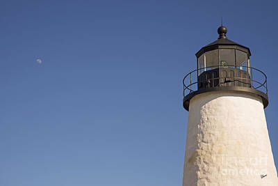Photograph - Moon And Pemiquid Lighthouse by Alana Ranney