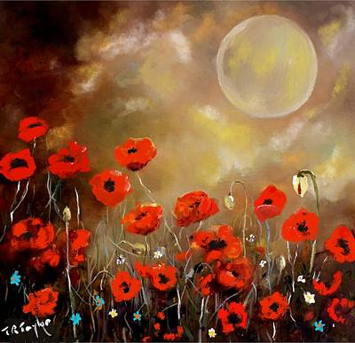Painting - Moon And Poppies. by Ralph Taylor