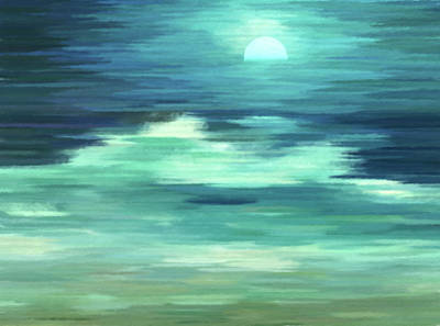 Mixed Media - Moon And Sea Abstract Realism by Georgiana Romanovna
