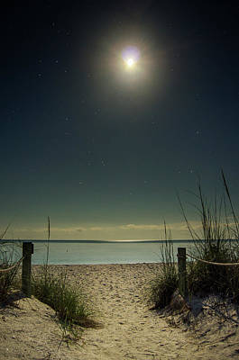 Photograph - Moon And Stars Over Beach by Greg Mimbs