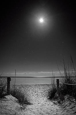 Stars Photograph - Moon And Stars Over Beach In Black And White by Greg Mimbs