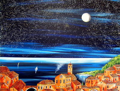 Moon And Stars Over The Village  Art Print